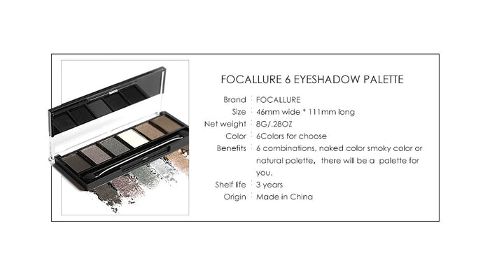 Focallure™ Smokey Pro 6 Eyeshadow #02   Roxee