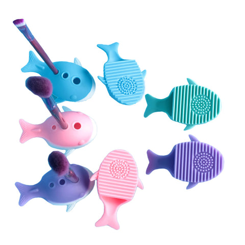 Baby Whale Cosmetic Brush Mat with Holder
