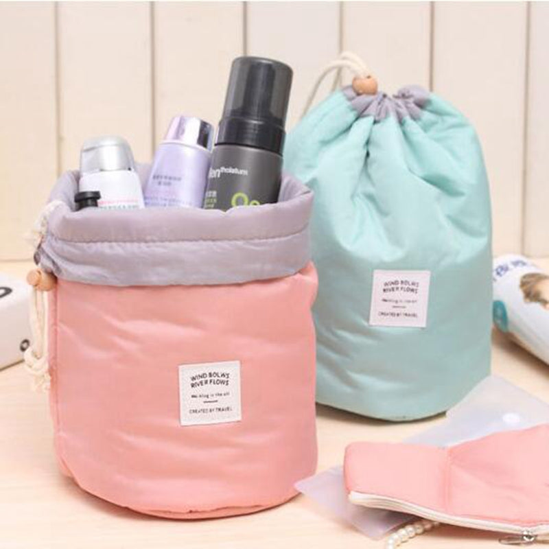 Barrel Shaped Travel Cosmetic Drawstring Bag   Roxee
