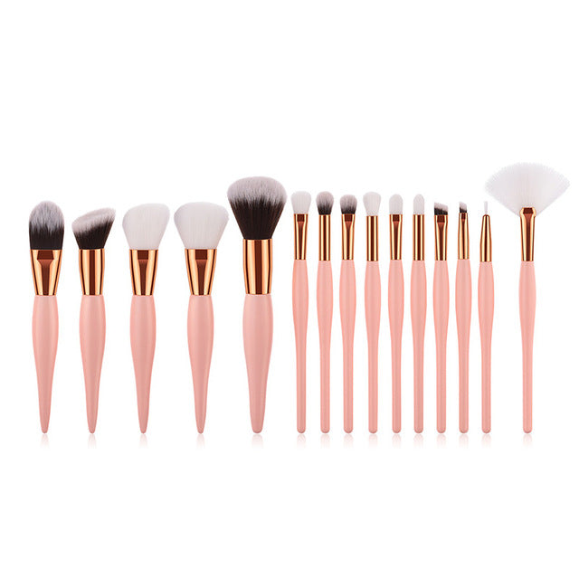 Wood Handle Foundation Blending Brush Set (8/12/15) 15 Pieces  Roxee