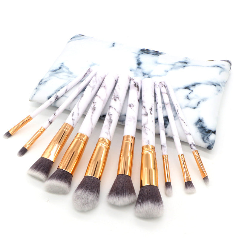 Marble Makeup Brushes Set (10)   Roxee