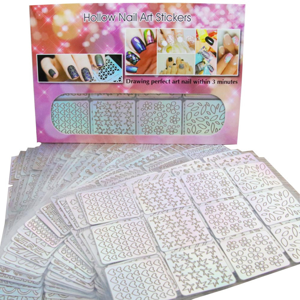 Nail Hollow Grid Stencil of 24 Sheets - Template Nail Art Tools   Roxee