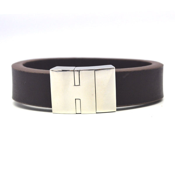 STEEL  LEATHER BRACELET | STB402 - Zawadis.com