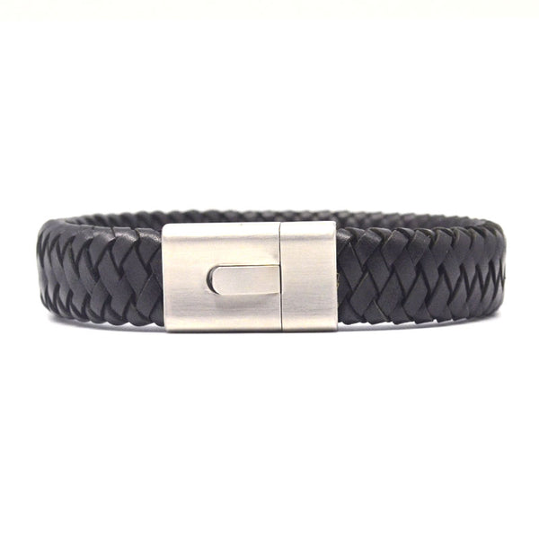 STEEL  LEATHER BRACELET | STB466 - Zawadis.com