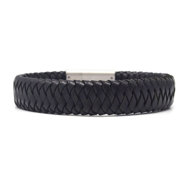 STEEL  LEATHER BRACELET | STB464 - Zawadis.com