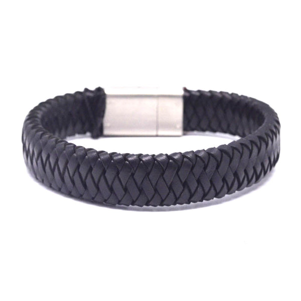 STEEL  LEATHER BRACELET | STB461 - Zawadis.com