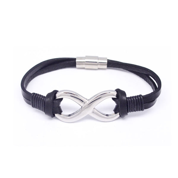 STEEL  LEATHER BRACELET | STB435 - Zawadis.com