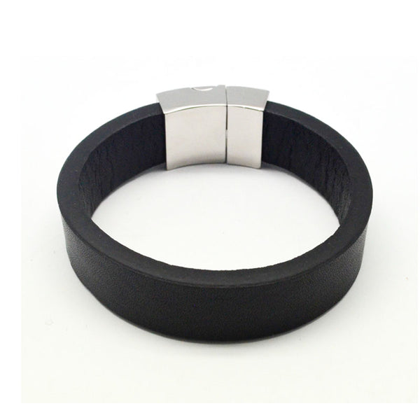 STEEL  LEATHER BRACELET | STB406 - Zawadis.com
