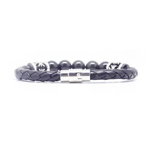 STEEL  LEATHER BRACELET | STB411 - Zawadis.com