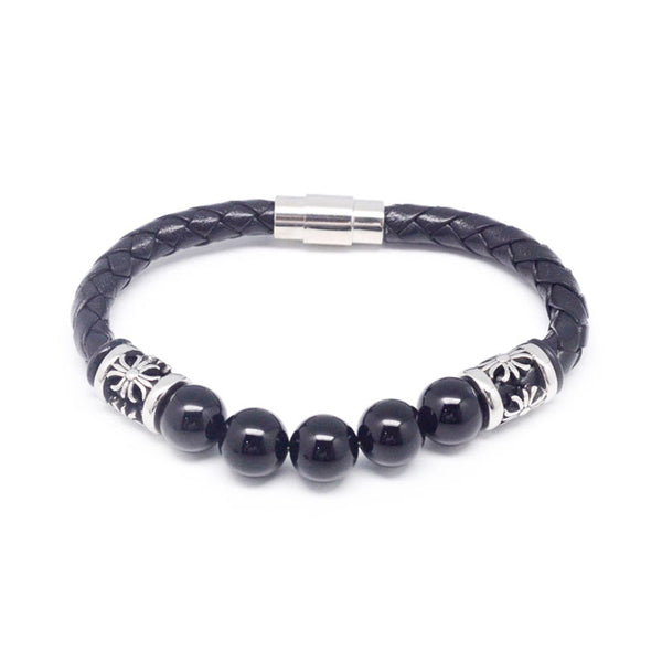 STEEL  LEATHER BRACELET | STB412 - Zawadis.com
