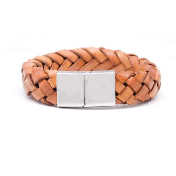 STEEL  LEATHER BRACELET | STB415 - Zawadis.com