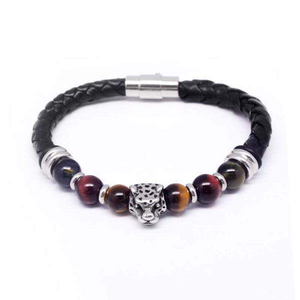 STEEL  LEATHER BRACELET | STB423 - Zawadis.com