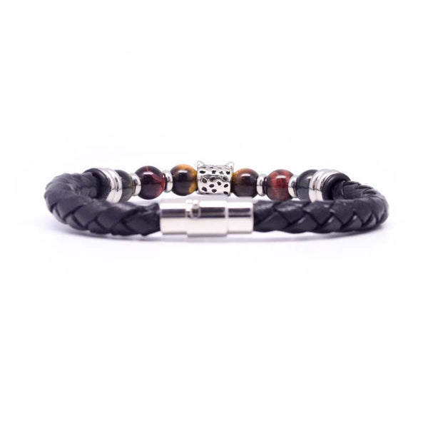 STEEL  LEATHER BRACELET | STB420 - Zawadis.com
