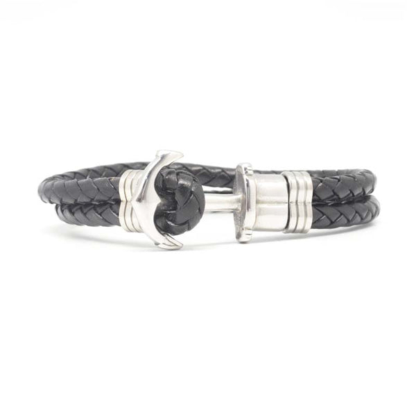 STEEL  LEATHER BRACELET | STB433 - Zawadis.com