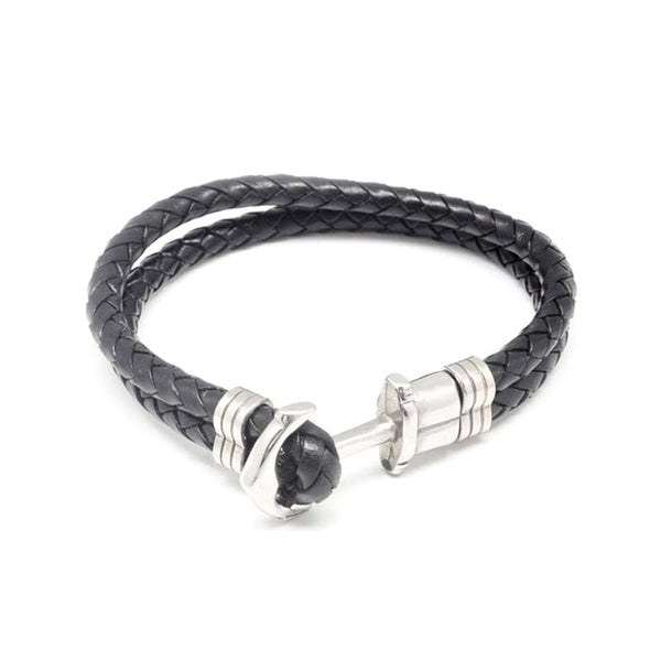 STEEL  LEATHER BRACELET | STB434 - Zawadis.com