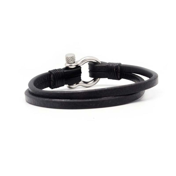 STEEL  LEATHER BRACELET | STB440 - Zawadis.com