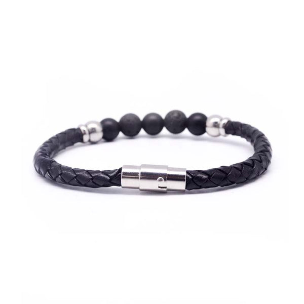 STEEL  LEATHER BRACELET | STB447 - Zawadis.com