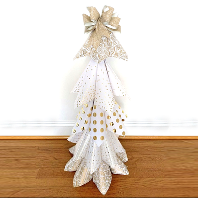 DIY Wrapping Paper and Bow Holiday Tree