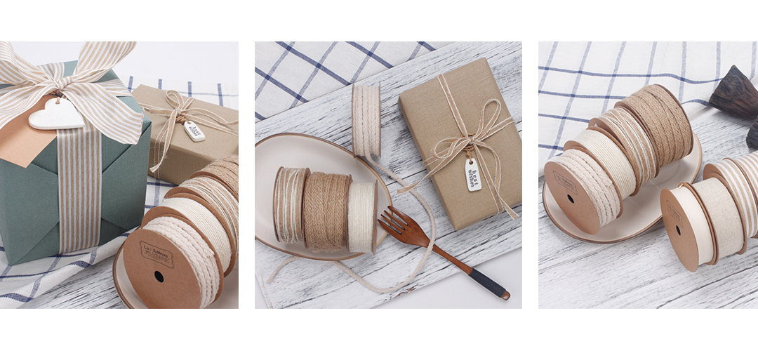 jute and natural style ribbon examples
