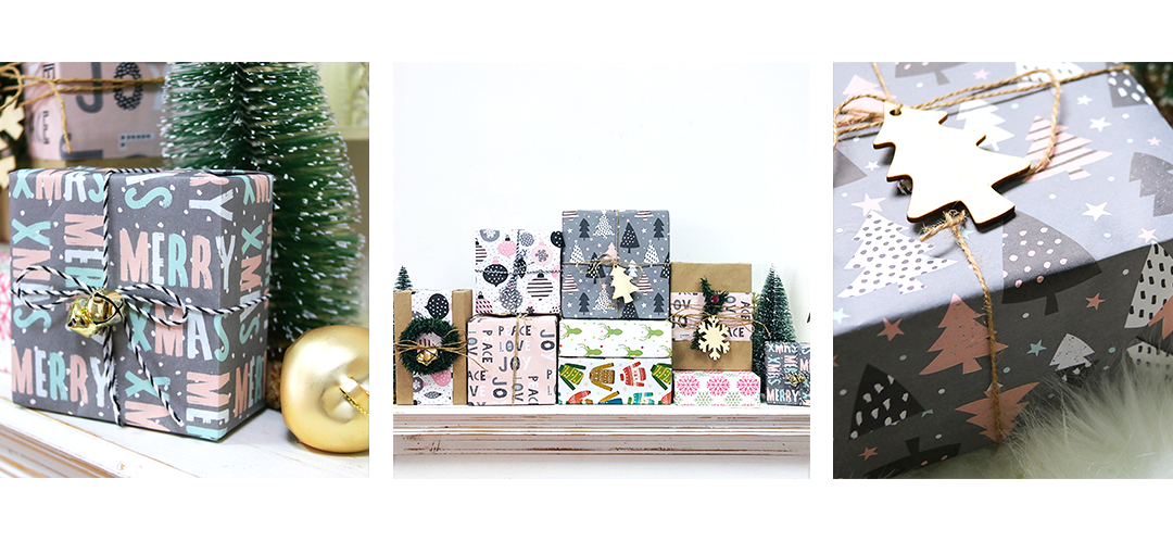 holiday themed wrapping paper samples