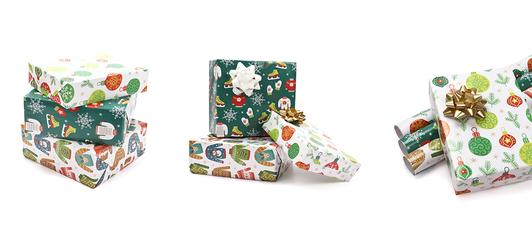 christmas and holiday themed wrapping paper samples