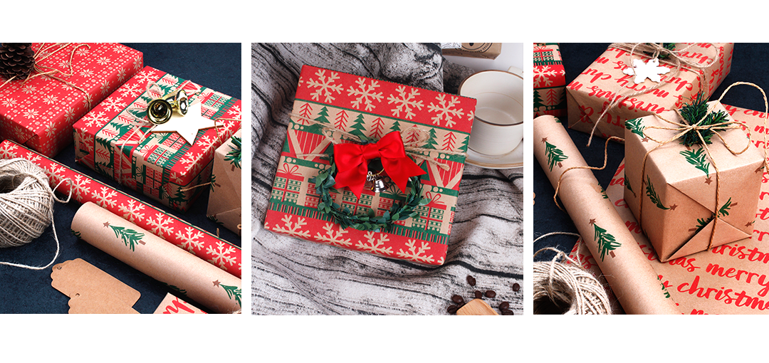 holiday kraft wrapping paper examples