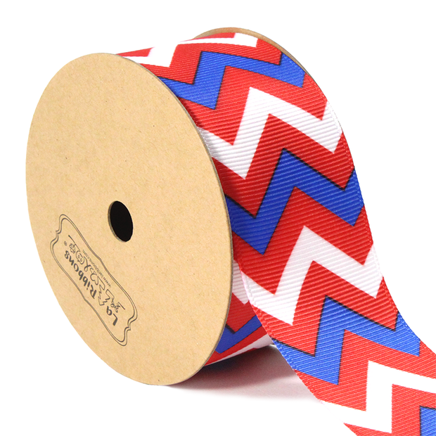 "1 1/2"" red white and blue chevron style ribbon"