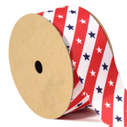 1 1/2 inch red, white and blue stars and stripes grosgrain ribbon