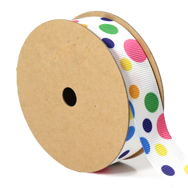 7/8 inch white multi color polka dot ribbon