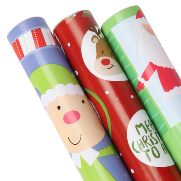 Red and green kids Christmas theme wrapping paper three roll pack