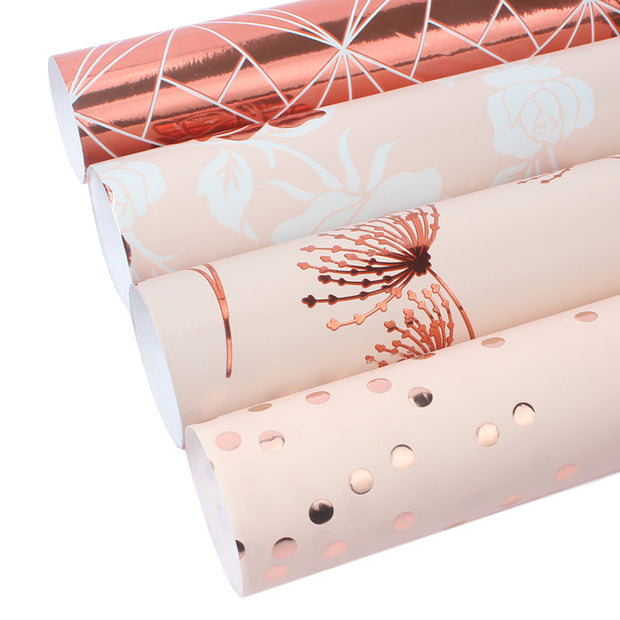 "Rose Gold Foil ""Rose"" Wrapping Paper Roll"
