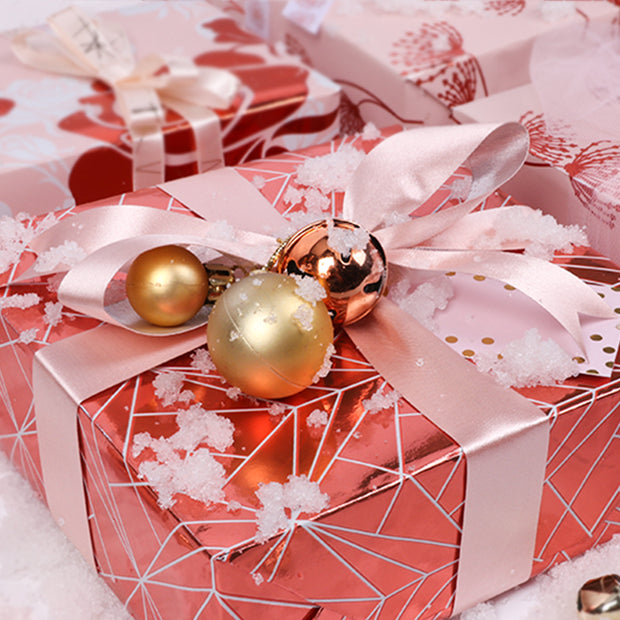 "Rose Gold Foil ""Geometric"" Wrapping Paper Roll"