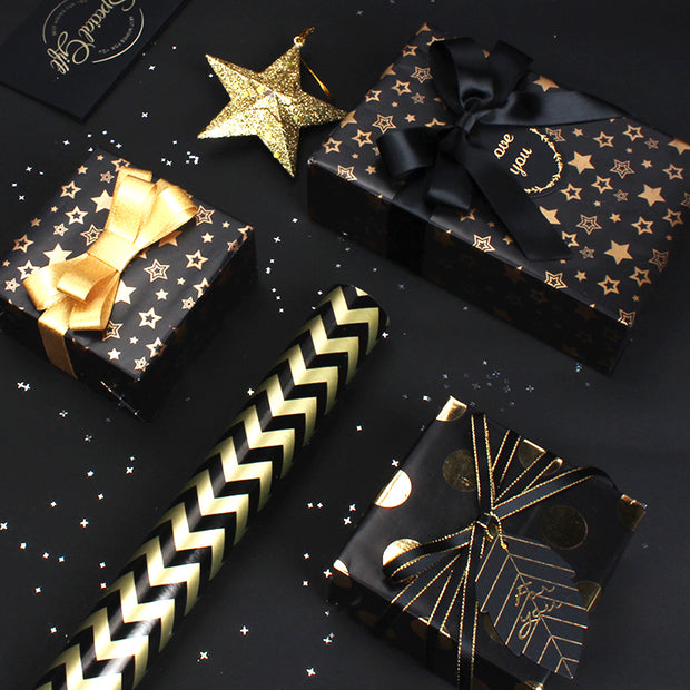 "Gold/White ""Constellations"" Wrapping Paper Roll"