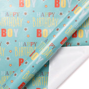 teal happy birthday theme wrapping paper roll