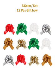 Red, green, white, gold and silver 12 pcs 5 inch pull bow bundle