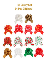 14 pcs Christmas plaid theme 5 inch pull bow bundle