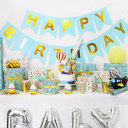 Teal happy birthday wrapped gifts