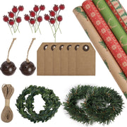 Red and green Christmas Kraft wrapping paper rolls with square gift tags, wreaths, small bells, twine and holly berry sticks