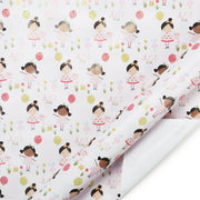White birthday theme wrapping paper roll printed with animated kids