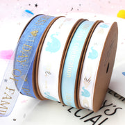 9mm White/Blue/Gold Elephant Metallic Ribbon