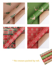 Green and red Kraft wrapping paper rolls