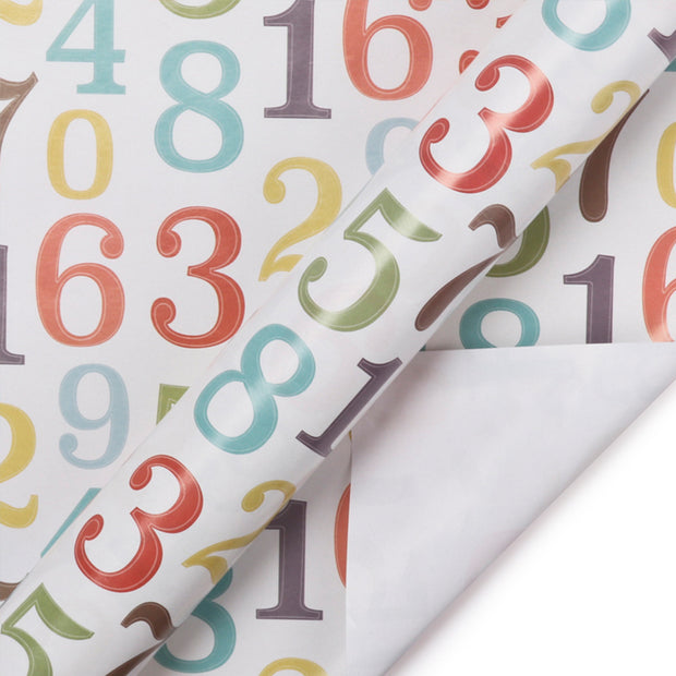 White birthday theme numbers printed wrapping paper roll