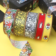 25mm Graffiti Satin Ribbon White/Multi Color