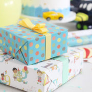 Teal and white birthday theme wrapped gifts