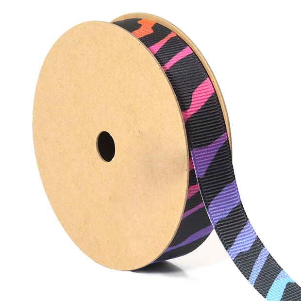 5/8 inch rainbow zebra grosgrain ribbon