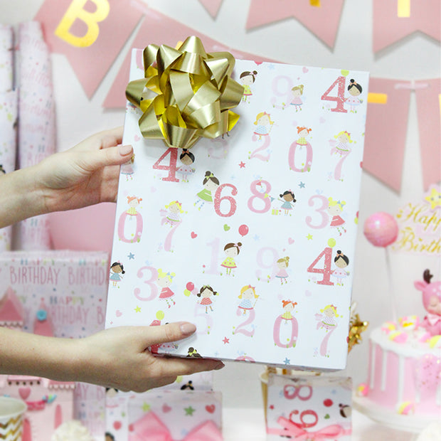 White birthday theme wrapping paper roll printed with numbers