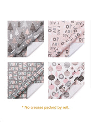 Pink and grey Christmas theme wrapping paper rolls