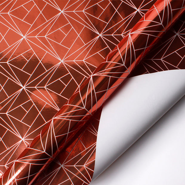 Rose gold and red geometric wrapping paper roll