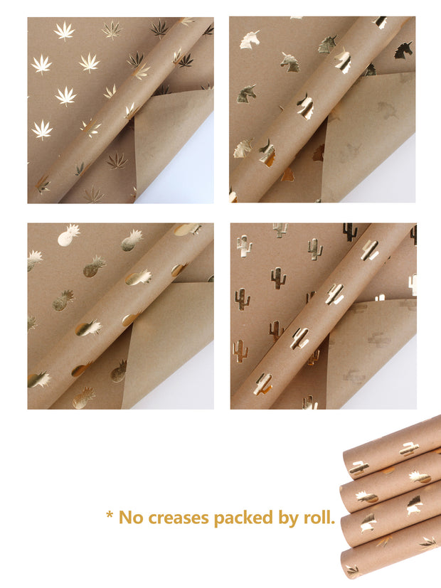 Gold foil kraft wrapping paper rolls
