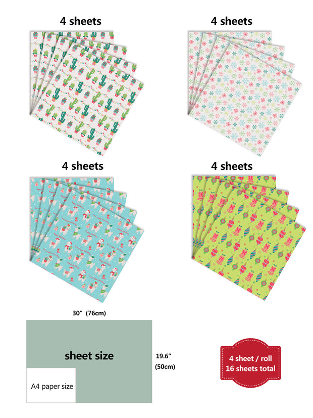 Cactus theme wrapping paper sheets with dimensions